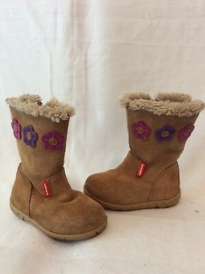 Girls M&S Brown Suede Boots Size 4