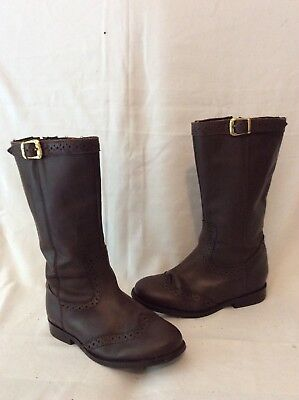Girls Tu Brown Leather Boots Size 11