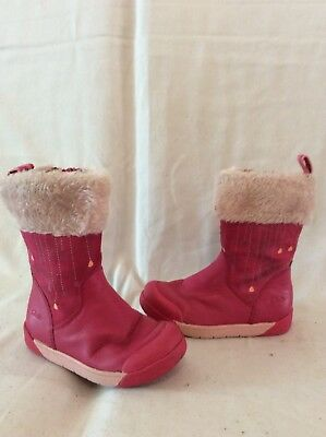 Girls Clarks Pink Leather Boots Size 7F