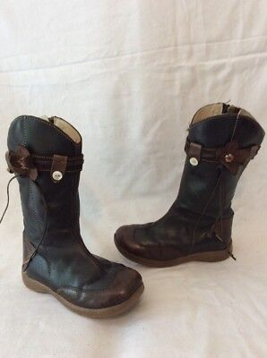 Girls Primigi Brown Leather Boots Size 26