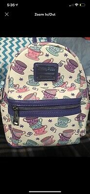 fb2f2cb3f50 Disney Parks Loungefly Mini Backpack Tea Cups from Alice in Wonderland Bag  NEW