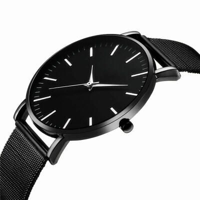 Men Trendy Ultra Thin Minimalist Watch Slim Mesh Strap Stainless Steel Quartz