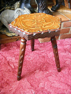 Vintage Leather Top French Rustic Style Carved Three Legged Milking Stool