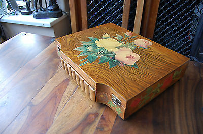 Lovely Antique Vintage Wooden Decorative Cutlery Storage Box Lined Interior