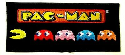 PAC-MAN Ghosts Cartoon  Iron on/ Sew on Embroidered patch 4 cm x 14 cm (H x W)