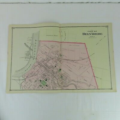 1874 Original Map Belvidere, NJ  F.W. Beers Warren County Delaware River