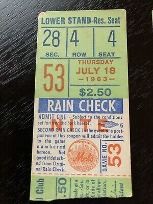 NY Mets Vintage Ticket Stub 1963 Polo Grounds 7/18/63 Giants Marichal Win Mays