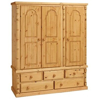 Handmade Ashley Furniture  Antique Pine Triple 5 Drawer Wardrobe No Flat Packs