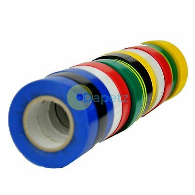 22 Meter Rolls Electricians PVC Insulating Insulation Tape 7 Assorted Colours