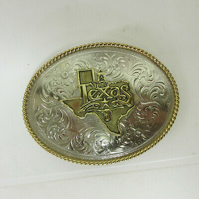 Montana Silversmiths BELT BUCKLE STATE of TEXAS SILVER tone gold tone roping ❤️