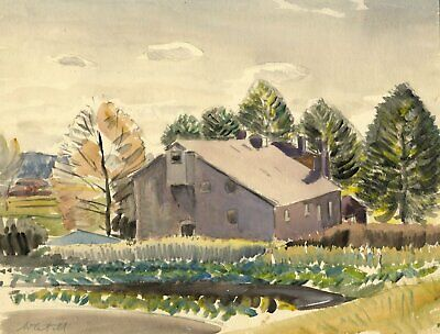 Walter Cristall, Farm Building in a Landscape -Early 20th-century watercolour