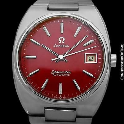 1978 OMEGA SEAMASTER Vintage Mens SS Steel Red Dial Watch - Mint with Warranty