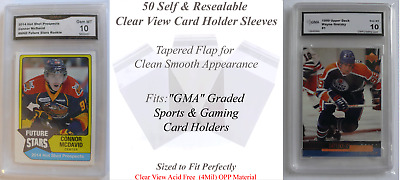 50 Perfect Fit Soft Sleeves for GMA Graded Sports Card Holders Clear, 4 Mil