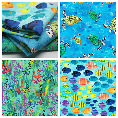 Octopus Garden by Robert Kaufman 100% cotton fabric - per FQT sealife, fish