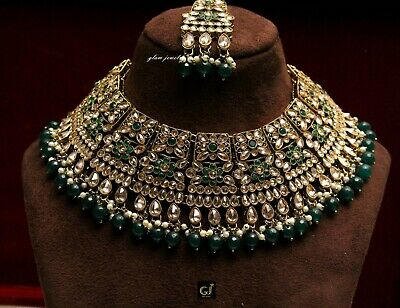 Gold Green Choker Antique Necklace Semi Bridal Indian Wedding Necklace Jewellry