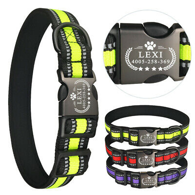 Reflective Personalised Dog Collar Small Large Collar Name ID Tag Engraved Nylon