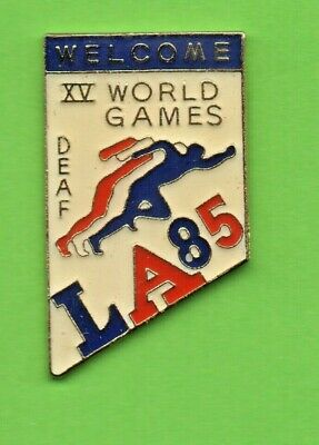 Pin's XV WORLD GAMES LA 85 Welcome DEAF Running Course à pied for LA 84 Olympic