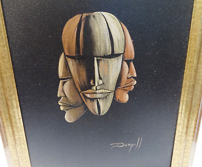 Elaine Dungill African American Tribal Mask Original Oil On Canvas Painting