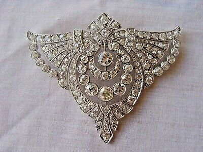 Magnificent French Art Deco Platinum Old Mine Cut Diamonds Pendant Brooch