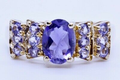 10K Solid Yellow Gold Oval & Round Purple Iolite Burst Cluster Ring Size 7.5