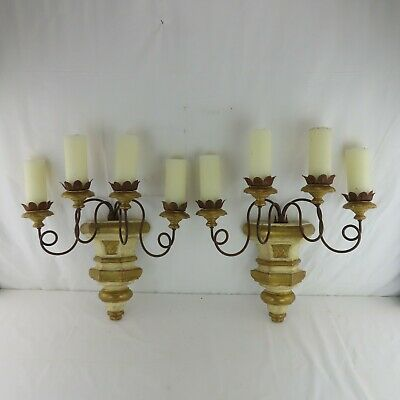 Pair of Antique Italian Giltwood 4-Light Wall Sconces w/ Iron Twist Arms French