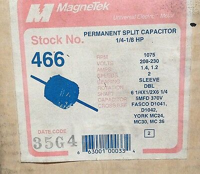 ~Discount HVAC~ OV-466 - MagneTek 2SPD Blower Motor 1/4HP 208-230V 1075RPM DBL