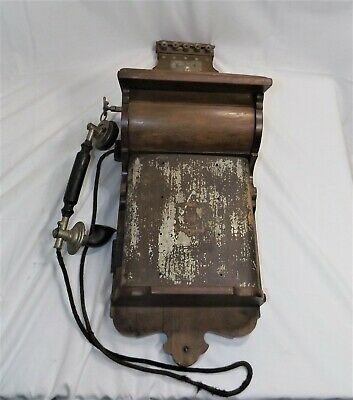 Antique Vintage JYDSK Wall Mount Wood Hand Crank Telephone with Receiver, Rare