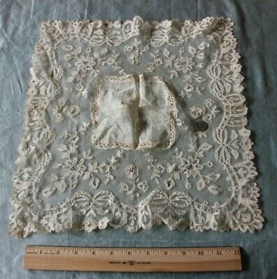 "Antique 19thC French Heirloom Handmade Floral Lace Handkerchief~14.5""X14""~Bridal"