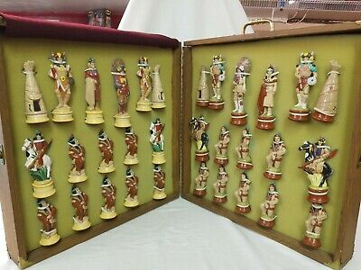 CUSTOM HAND PAINTED Indian AMERICAN NATIVE Ceramic Chess SET WOOD BOARD & CASE