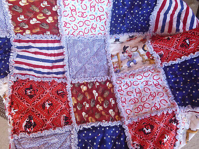 "Baby Boy Toddler Child : Rag Quilt  ""American West"" Red White & Blue cotton"