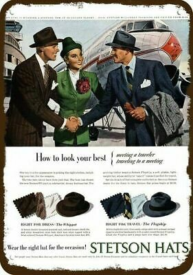 1947 STETSON FLAGSHIP & WHIPPET HAT & American Airlines Plane REPLICA METAL SIGN