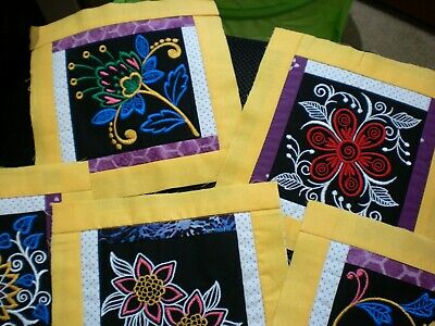 7 NEW Embroidered Blocks handmade Quilt patchwork UNFINISHED PROJECT FREE POST