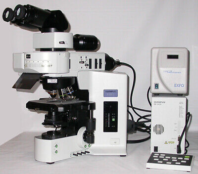 Olympus Bx61 Motorized Fluorescence Microscope With Exfo And 5 Objectives