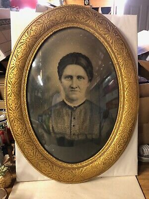 """Antique Ornate Oval Wood Picture Frame with Convex Bubble Glass 19"""" x 24 3/4"""""""