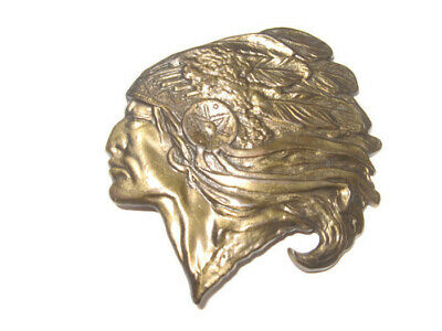 Vintage INDIAN HEAD BRASS BELT BUCKLE CHIEF Head Dress MBCI NATIVE AMERICAN w/FS