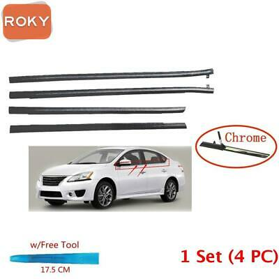 For Sentra 2013-2018 Window Weatherstrip 4PC Sweep Belt Outer Seals Chrome