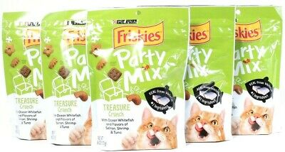 5 Bags Purina Friskies 6 Oz Party Mix Treasure Crunch Real Whitefish Cat Treats