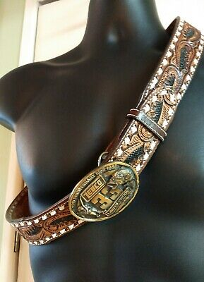 Justin Western Belt Mens 38 Leather Floral Tooled Brown- Zebco 33 Ltd Ed.Buckle