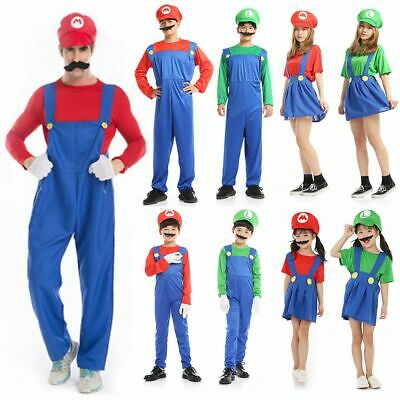 Men's Women Adult Kids Super Mario Luigi Bros Cosplay Fancy Dress Outfit Costume