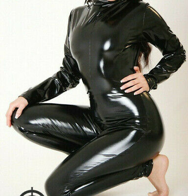 High Quality 100% Latex Rubber Women Pure Black Long Full CatSuit Size S-XXL