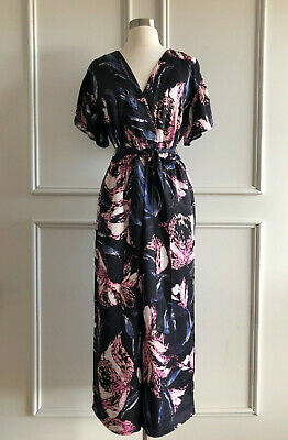 country road :black floral print wide leg jumpsuit size:4.6.8.10.12.16 NEW $199
