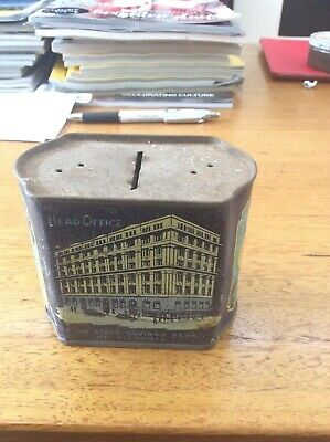 """Vintage The State Savings Bank Of Victoria Money Box """" Hard To Find """""""