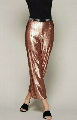1cf1035c62faa5 Free People Just a Dreamer Sequin Crop Pants Trousers Rose Gold Size XS (0-