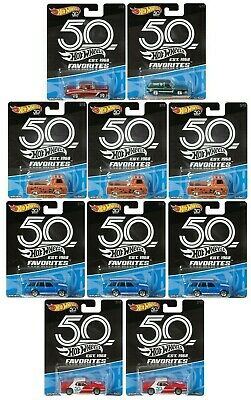 10 x 2018 Hot Wheels Cars 50th Anniversary Favorites 1/64 Brand New SEALED