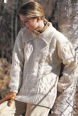 "Sampler Aran Sweater Knitting Pattern 34/"" Wool or Cotton Loose Fit 38/"""