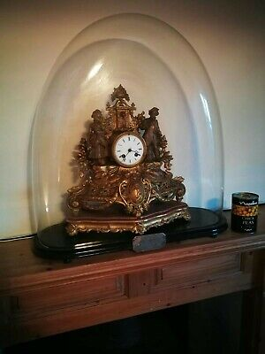 Antique French Clock in original XL Glass Dome c1860's Excellent Working Order
