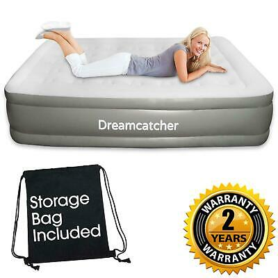 King Size Queen Double Blow Up Air Bed Inflatable Mattress With Built In Pump