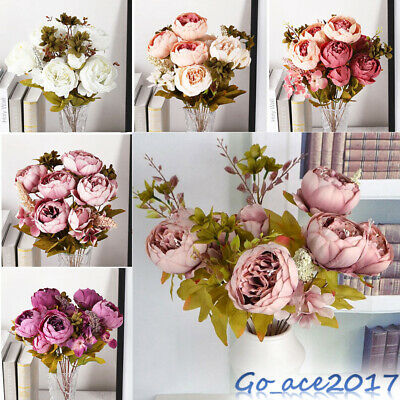 13 Heads Artificial Fake Peony Silk Bouquet /Rose Flowers Vine Party Home Decor