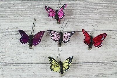 6 4cm Real Feather Butterflies Butterflys On Clip Cakes Crafts Card Making