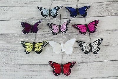 6 10cm Real Feather Butterflies Butterflys On Clip Cakes Crafts Card Making